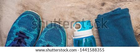Bandeira longo formato esportes turquesa azul Foto stock © galitskaya