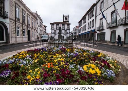 City Hall center in Ponta Delgada, Azores, Portugal. Stock photo © hsfelix