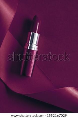 Luxe lippenstift zijde lint pruim vakantie Stockfoto © Anneleven