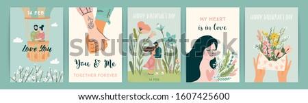 バレンタインデー グリーティングカード 漫画 テンプレート ピンク バニー ストックフォト © barsrsind