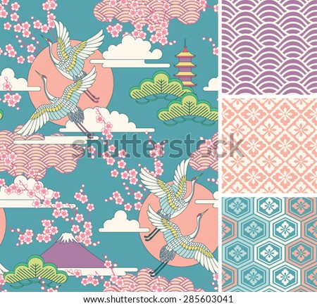 Seamless traditional asian ornamental motive, japanese, chinese or korean and more. Geometric patter Stock photo © sanyal