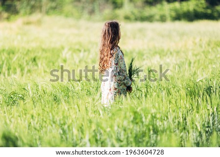 A child stands in an agricultural field with a bouquet of daisies in his hands Stock photo © ElenaBatkova
