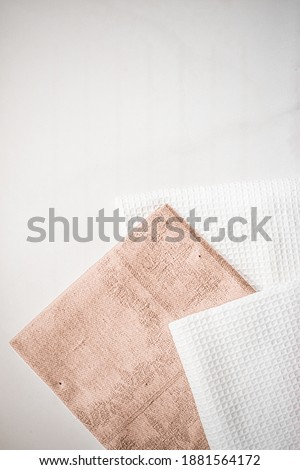 Kitchen textile on chic white marble background, napkin and towe Stock photo © Anneleven