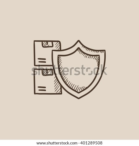 Hand Drawn Box with Purchase, Delivering Parcel Stock photo © robuart