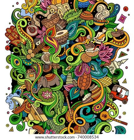 Sri Lanka kézzel rajzolt rajz firkák illusztráció vicces Stock fotó © balabolka