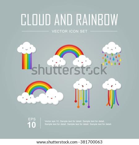 Tęczy chmury kolor ikona cień pogoda Zdjęcia stock © Imaagio