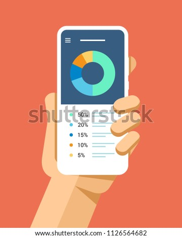 Hand holds the smartphone with financial radial chart. Flat vector modern phone mock-up illustration Stock photo © karetniy