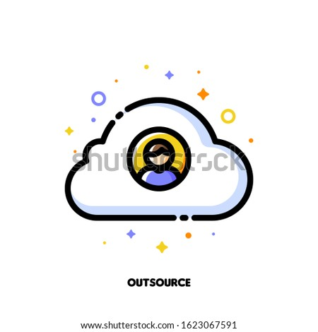 Icon of person and cloud for outsource or relocating a business Stock photo © ussr