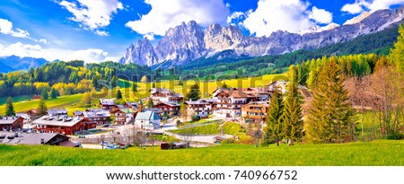 Cortina d' Ampezzo main square architecture and church panoramic Stock photo © xbrchx