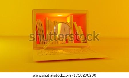 библиотека ноутбука экране увеличительное стекло желтый цвета Сток-фото © sedatseven