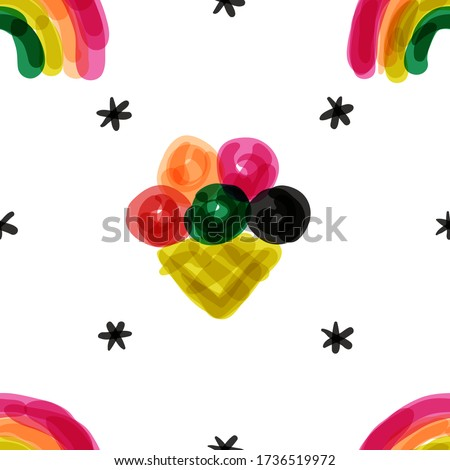 Seamless pattern in naive style with vivid rainbow and ice cream  Stock photo © ussr