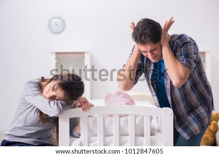 Young dad cannot stand baby crying Stock photo © Elnur