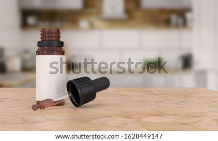 CBD, Cannabidiol oil bottle with a hemp plants. 3d illustration. Stock photo © limbi007
