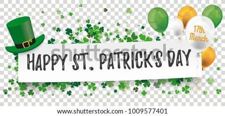 Header Shamrocks Balloons Paper Banner Happy St. Patricks Stock photo © limbi007