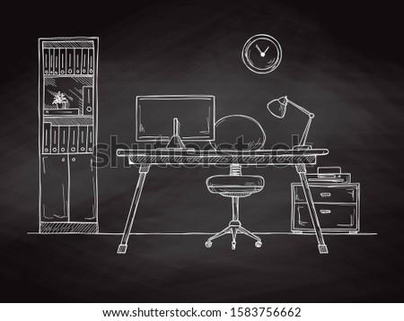 Schets kamer bureaustoel bureau objecten Stockfoto © Arkadivna
