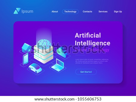 Virtual Artificial Intelligence isometric icon vector illustration Stock photo © pikepicture