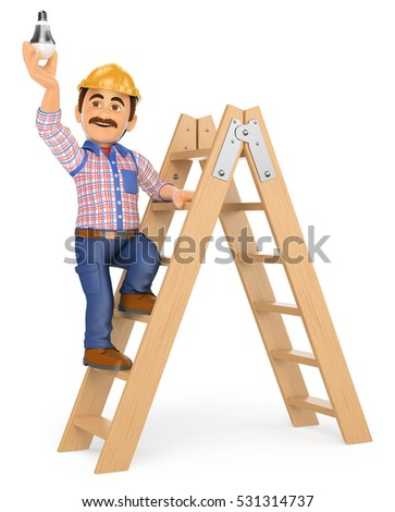Young tradesman standing on a stepladder and holding a screw gun Stock photo © photography33