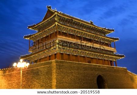 ворот мужчин квадратный Пекин Китай ночь Сток-фото © billperry