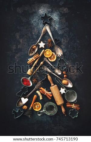 christmas · biscuit · cake · gedekt · slagroom - stockfoto © loopall