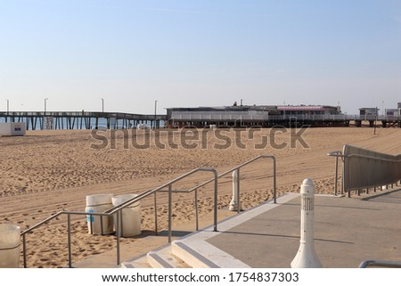 beautiful clean sandy  beach from seaside with restaurants seen  Stock photo © meinzahn