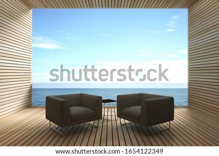 Erkély tenger kettő székek vakáció tengerpart Stock fotó © denisgo
