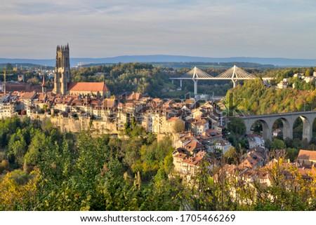 kilátás · katedrális · híd · Svájc · hdr · panorámakép - stock fotó © elenarts