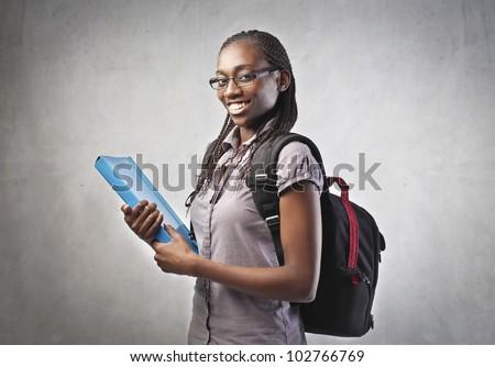 jovem · africano · estudante · mulher · dobrador · mulher · de · negócios - foto stock © Kurhan
