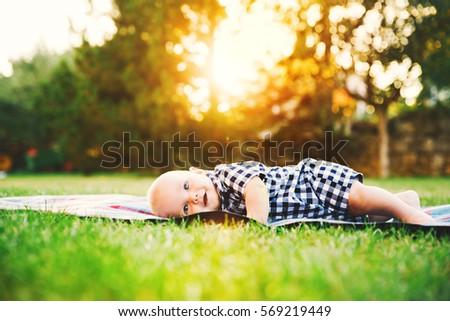 baby boy exploring outdoor stock photo © igabriela