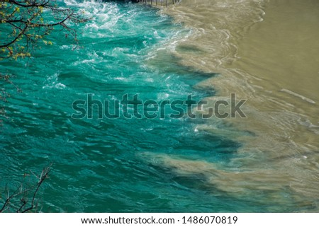 Confluence of the Alaknanda and Bhagirathi rivers to form the Ga Stock photo © imagedb