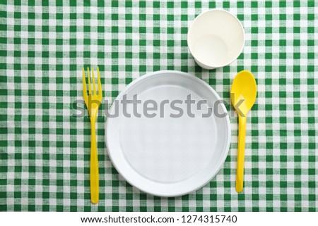 plastik · kaşık · masa · örtüsü · gıda · akşam · yemeği - stok fotoğraf © jirkaejc