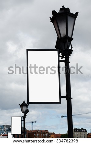 Antigue Lamps With Blank Frames For Your Posters With Clipping Stock photo © sarkao