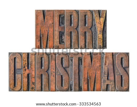 Antique letterpress wood type printing blocks - Merry Christmas Stock photo © Zerbor