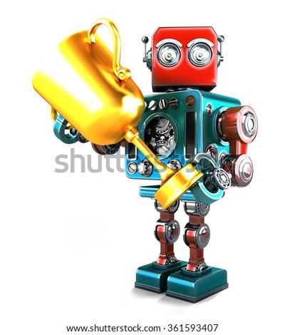 ストックフォト: ヴィンテージ · ロボット · トロフィー · 孤立した