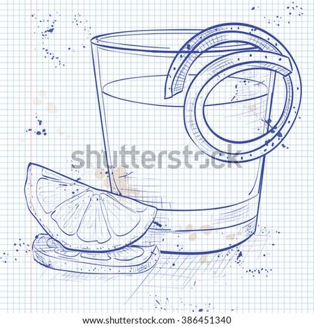 Classic sazerac cocktail on a notebook page Stock photo © netkov1