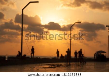 レトロな · 日の出 · ビーチ · レトロスタイル · 水 · 日没 - ストックフォト © disobeyart