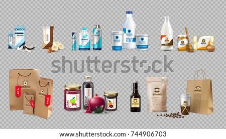 Stockfoto: Vector · realistisch · voedsel · producten · melk · honing