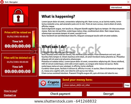 cryptolocker virus interface window showing infected data deleting timer stock photo © swillskill
