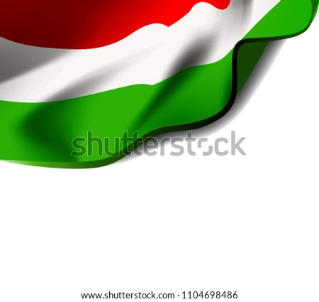 Waving flag of Hungary close-up with shadow on white background. Vector illustration with copy space Stock photo © m_pavlov