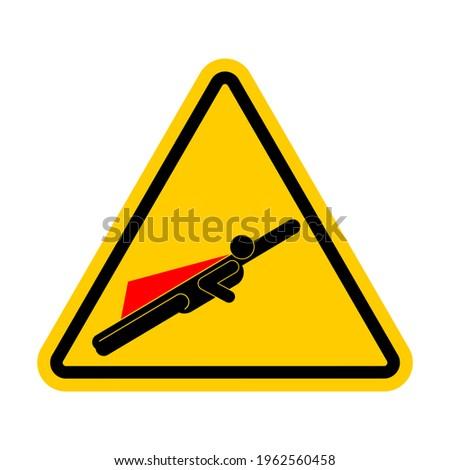 Figyelem szuperhős veszély szuperhős út citromsárga Stock fotó © popaukropa