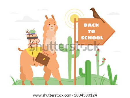 Flat schoolbag on the background with the slogan. Vector illustration design Stock photo © Linetale
