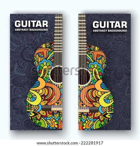 Abstrato retro música guitarra banners ornamento Foto stock © Linetale