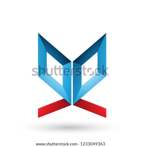 blue and red double sided butterfly like letter e vector illustr stock photo © cidepix