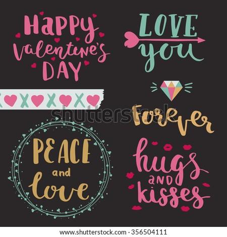 Dia dos namorados cartões coleção tipografia projeto elementos Foto stock © JeksonGraphics