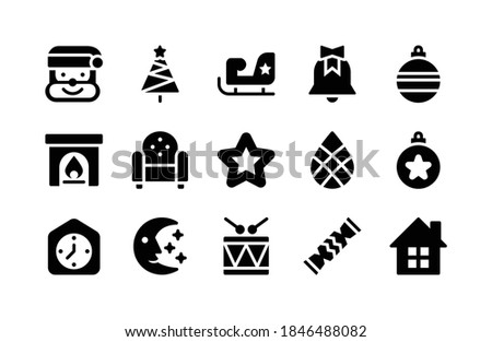 Christmas Decoration Icons Vector. Fireplace, Sock, Chair, Christmas Tree, Gifts, Lights, Hat. Isola Stock photo © pikepicture