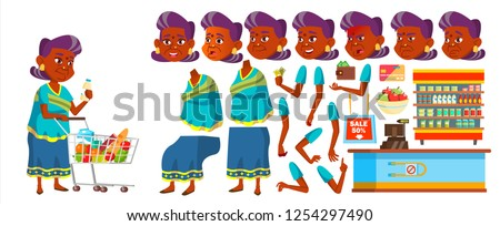 Indian Old Woman Shopping Vector. Elderly People. Hindu In Sari. Asian. Senior Person. Aged. Caucasi Stock photo © pikepicture