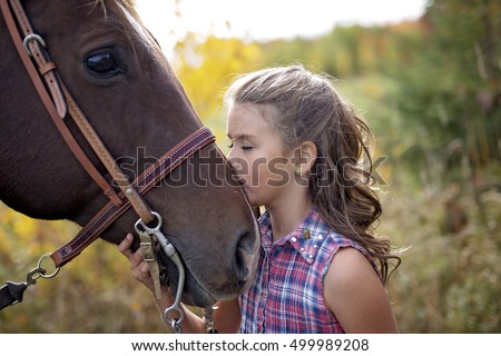 Autumn season young girl and horse Stock photo © Lopolo