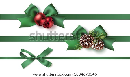 Realistic green bow with horizontal green ribbons isolated on white. Element for decoration gifts, g Stock photo © olehsvetiukha