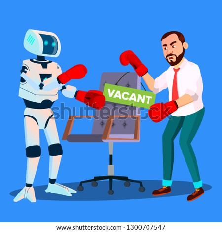 Robot Boxing With Businessman For Vacant Place At Work, HR Concept Vector. Isolated Illustration Stock photo © pikepicture