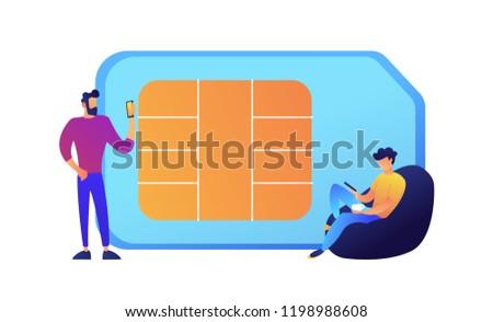 Businessmen using mobile phones and huge SIM card vector illustration. Stock photo © RAStudio