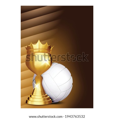 volleyball game award vector volleyball ball golden cup modern tournament design element for spo stock photo © pikepicture